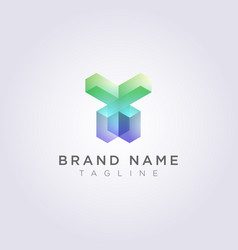 rectangular geometric logo icon design in the vector image