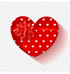 red gift box for valentines day heart box with vector image