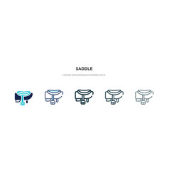 Saddle icon in different style two colored and vector