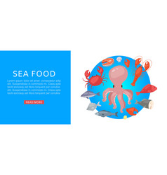sea food market with tuna salmon clams crab vector image