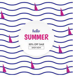 sea waves and yacht sailing summer sale banner vector image