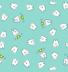 seamless dental pattern cute funny hand drawn vector image