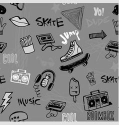 seamless pattern with hipsters teens doodles vector image