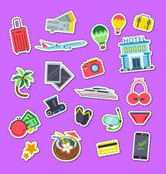 set flat travel elements stickers vector image