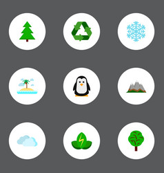 set of nature icons flat style symbols with spruce vector image
