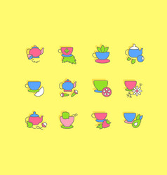 set simple line icons tea vector image