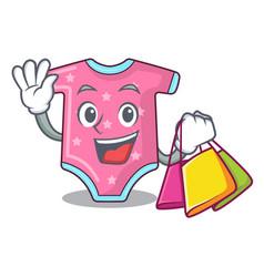 shopping cartoon baby clothes on hanger rack vector image