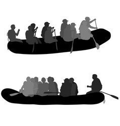 Silhouette descent on a river water rafters on a vector