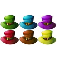 Six colourful hats vector