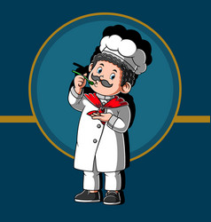 Smiling male chef making soup vector