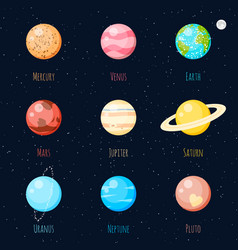 solar system planets icons vector image