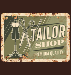 Tailor shop metal plate rusty sewing dressmaking vector