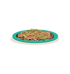 Tasty fried noodle with green beans traditional vector