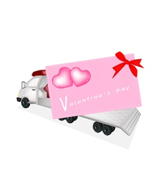 Tractor Trailer Flatbed Loading A Valentine Card vector