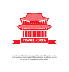 travel to korea landmark south korean palace icon vector image