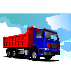 truck red-blue lorry vector image