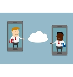 Two businessmen send information to cloud service vector image