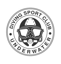 underwater diving sport club vintage logo black vector image