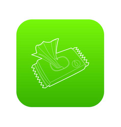 Wet wipe pack icon green vector