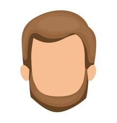 white background of faceless man with brown hair vector image