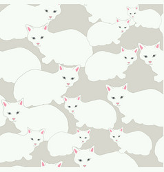 white cats on beige background seamless pattern vector image