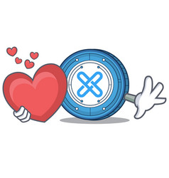 With heart gxshares coin mascot cartoon vector