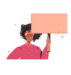 Woman holding blank cardboard banner black lives vector