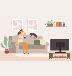 Young woman watch tv girl lying on couch with vector