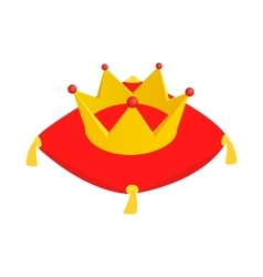 Crown on red velvet cushion icon vector