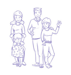 happy family with young children hand drawn vector image vector image