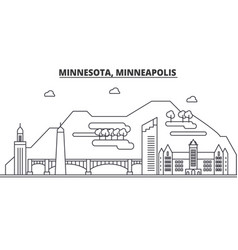 Minnesota minneapolis architecture line skyline vector