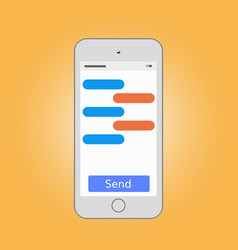 Mobile phone massaging with send button vector