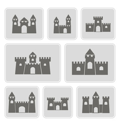monochrome icons with different castles vector image vector image