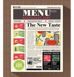 Restaurant Menu Design Template in Newspaper style vector image vector image