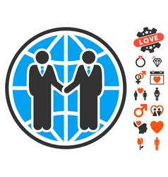 global partnership icon with dating bonus vector image