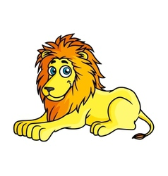 Cartoon yellow lion lies on front paws vector image vector image