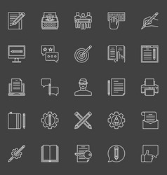 copywriting outline icons vector image vector image