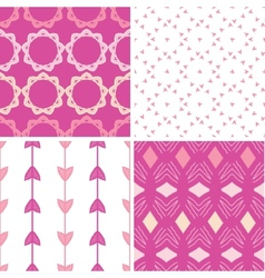 Four abstract geometric pink seamless patterns set vector image vector image