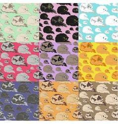 Lying Cat Seamless Pattern vector image