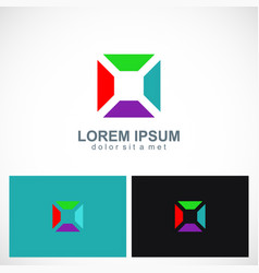 square colorful geometry logo vector image