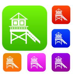 wooden stilt house set collection vector image