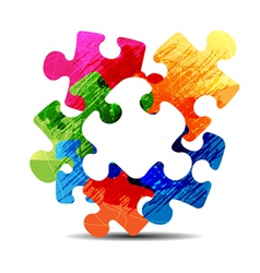 abstract puzzle shape vector image vector image
