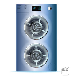 Blue steel front load double washing machine vector