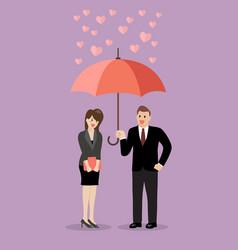 businessman flirt with a woman under an umbrella vector image