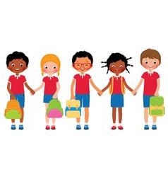 Group of children students in school uniforms vector image