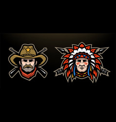head of cowboy and indian on a dark background vector image
