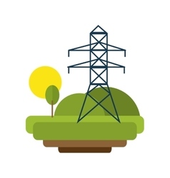 Landscape with electricity lines vector