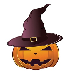 Pumpkin in witch hat vector image vector image