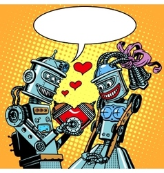 Robots man woman love Valentines day and wedding vector image vector image