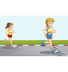 Two girls racing vector image vector image